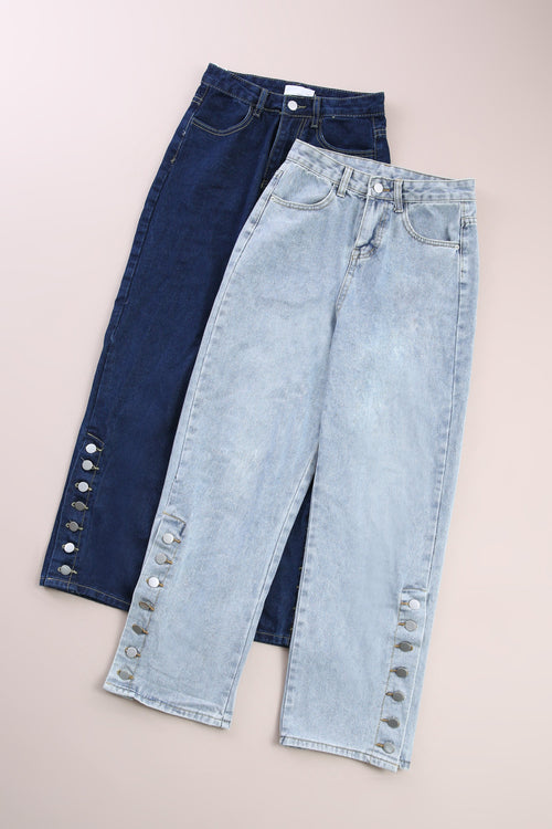 Side Button Denim Long Pants 6091A Bottoms