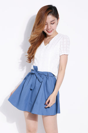 Top with Denim Skirt Set 6261