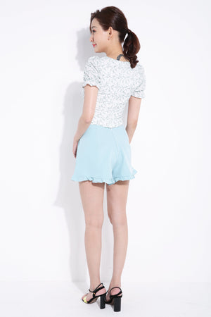 Flower Top With Plain Short Pants Set 6895 Sets
