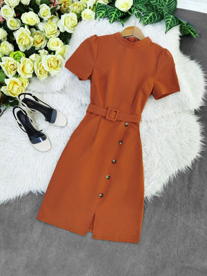 Front Button Dress 7766 Brown / S Dresses