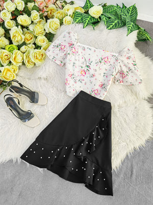 Flower Top With Polka Dot Skirt Set 7799 Sets