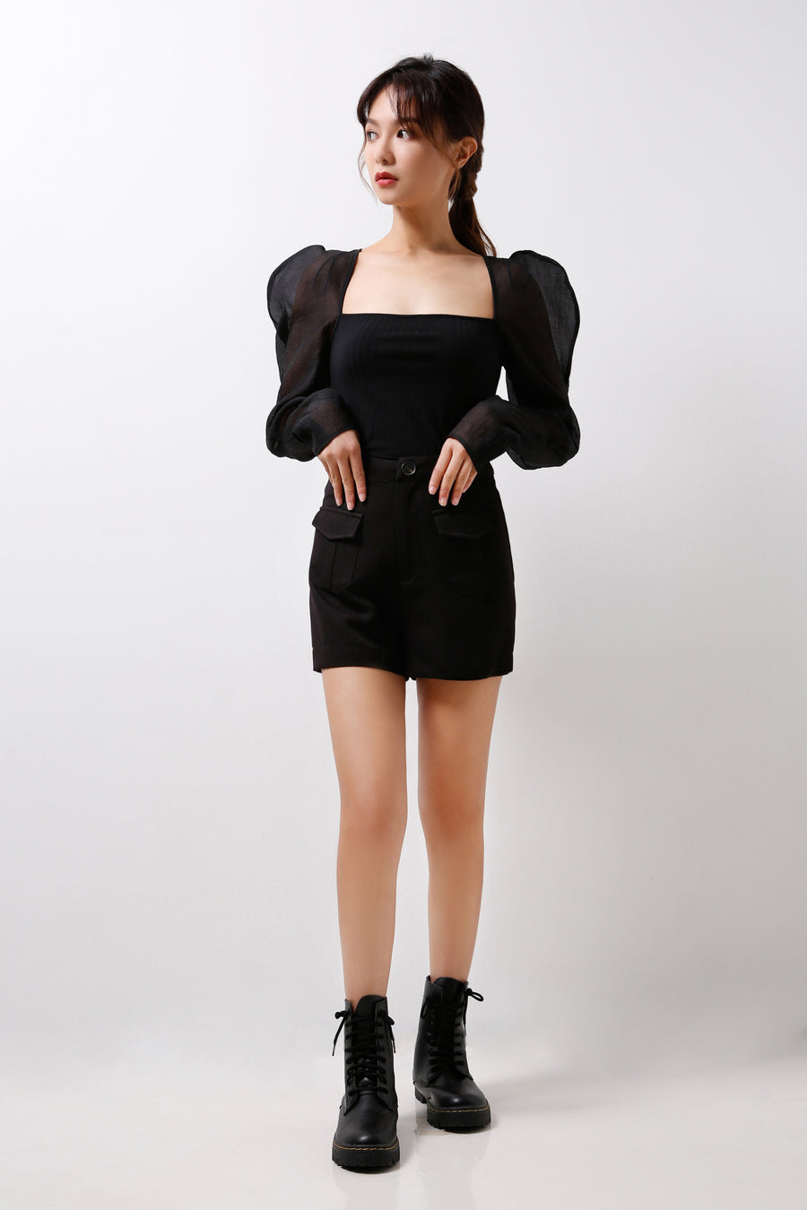 Structured Organza Sleeves With Knitted Base  (Premium Quality Ready Stock)
