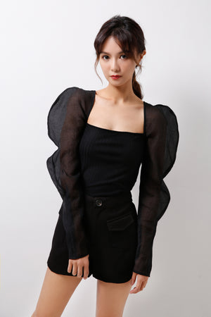 Structured Organza Sleeves With Knitted Base  (Premium Quality Pre-Order)