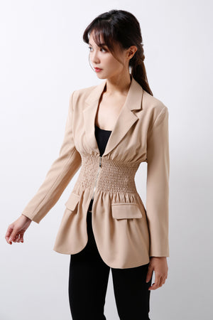 Blazer With Ruched Detail (Premium Quality Ready Stock)