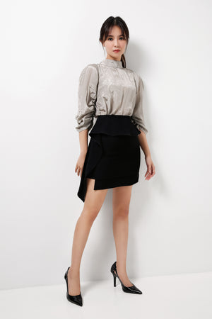 Draped Peplum Asymmetrical Skirt
