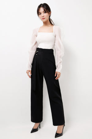 Belted Wide Leg Pants (Premium Quality Ready Stock)