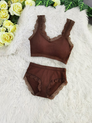 Lace Line Bra With Inner Pants Set 8104A Backorder) Brown Sets