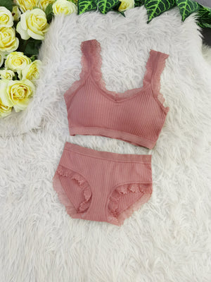 Lace Line Bra With Inner Pants Set 8104A Backorder) Pink Sets