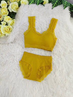 Lace Line Bra With Inner Pants Set 8104A Backorder) Yellow Sets