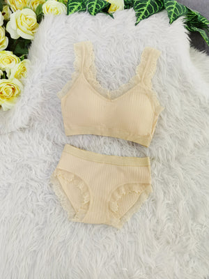 Lace Line Bra With Inner Pants Set 8104A Backorder) Nude Sets