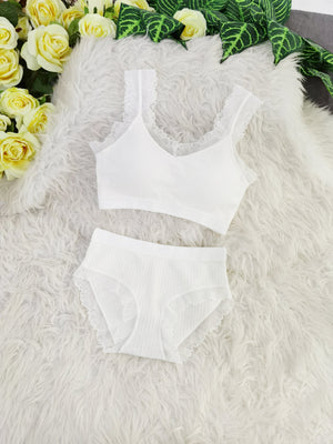 Lace Line Bra With Inner Pants Set 8104A Backorder) White Sets