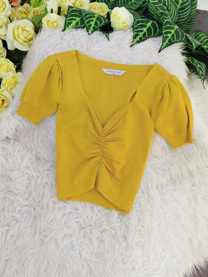 Ruched Top 8231 Yellow Tops