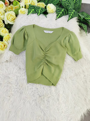 Ruched Top 8231 Green Tops