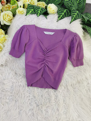 Ruched Top 8231 Purple Tops