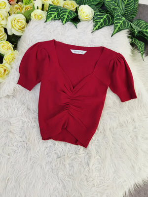 Ruched Top 8231 Red Tops