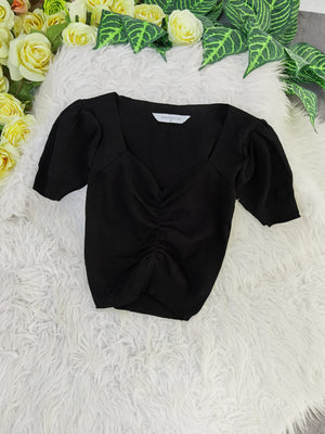 Ruched Top 8231 Black Tops