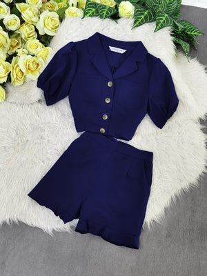 Puff Sleeve Top With Short Pants Set 8250 Sets