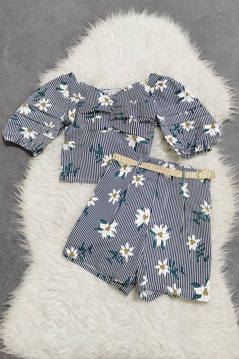 Flower Top With Short Pants Set 9057
