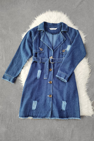 Front Button Denim Dress 9081