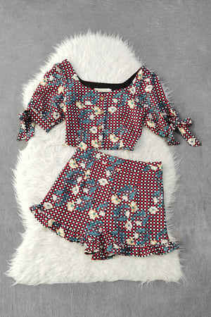 Flower Checker Top With Short Pants Set 9389