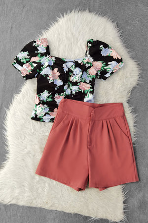 Flower Top With Short Pants Set 9741