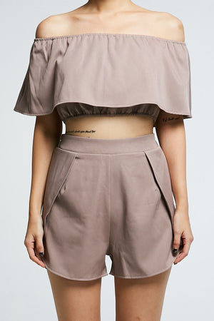 Off Shoulder Crop Top with Short Pant Set 0710 - ample-couture