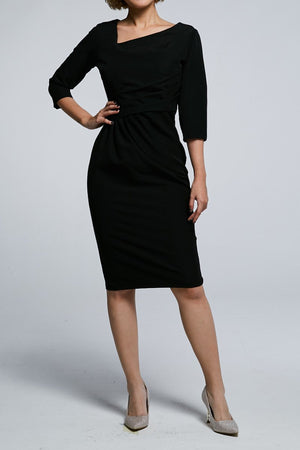 Midi Sleeves Fitted Dress 0590 Black / S Dresses