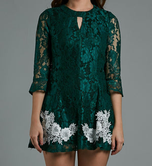 3/4 Sleeve Lace Dress 0587 - Ample Couture