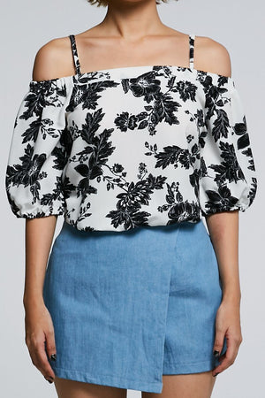 Open Shoulder Floral Top 0598 - ample-couture
