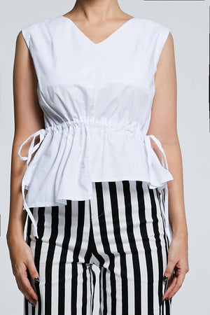 Plain Top with Stripe Pant Set 0607 - ample-couture