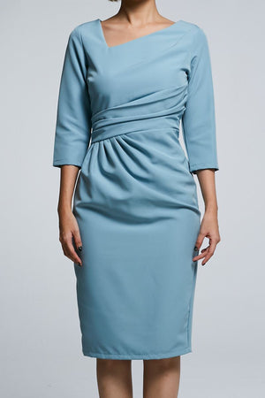 Midi Sleeves Fitted Dress 0590 Dresses