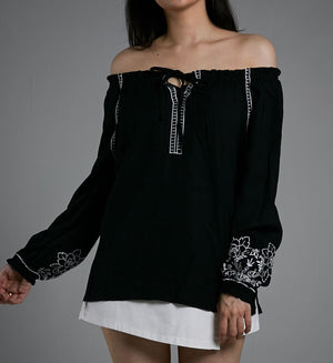 OFF SHOULDER LONG SLEEVES TOP 0540 - Ample Couture