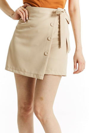 Fake Button Skirt Pant 0752 - Ample Couture