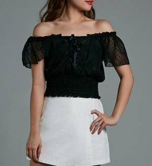 Off Shoulder Cross Top 0584 - Ample Couture
