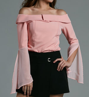 Off Shoulder Chiffon Sleeve Top 0576 Pink / S Tops