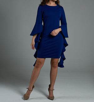 Frill Sleeve Fitted Dress 0569 Blue / S Dresses
