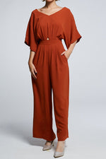 Short Sleeves Jumpsuit 0606 Brown / M Jumpsuits