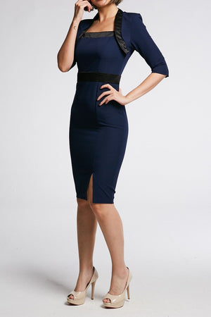 ¾ Sleeves Fitted Dress 0658 - ample-couture