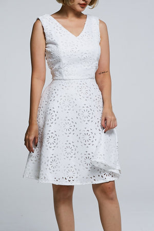 Laser Cut Floral Dress 0592 - ample-couture