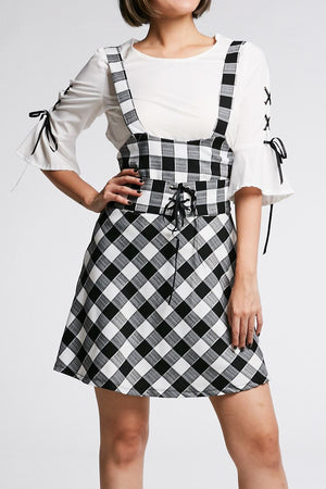 Mid Sleeves Top With Checker Dress Set 0675 Black / S Sets
