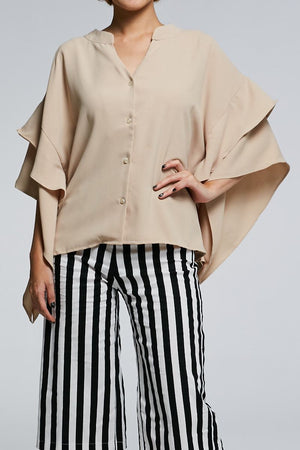 Long Sleeves Button Top 0616 Beige Tops