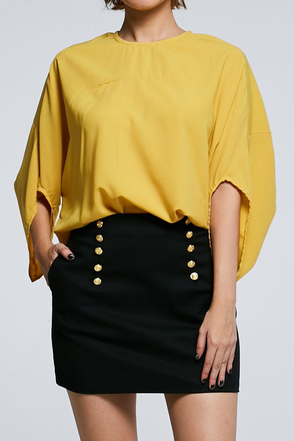 Midi Sleeves Plain Top 0609 - ample-couture