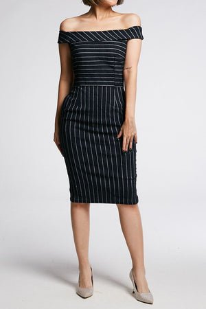 Stripes Fitted Dress 0656 - ample-couture