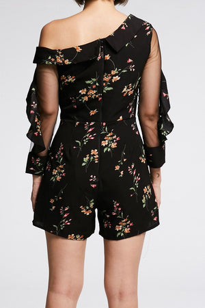 Chiffon Sleeves Floral Playsuit 0679 - Ample Couture