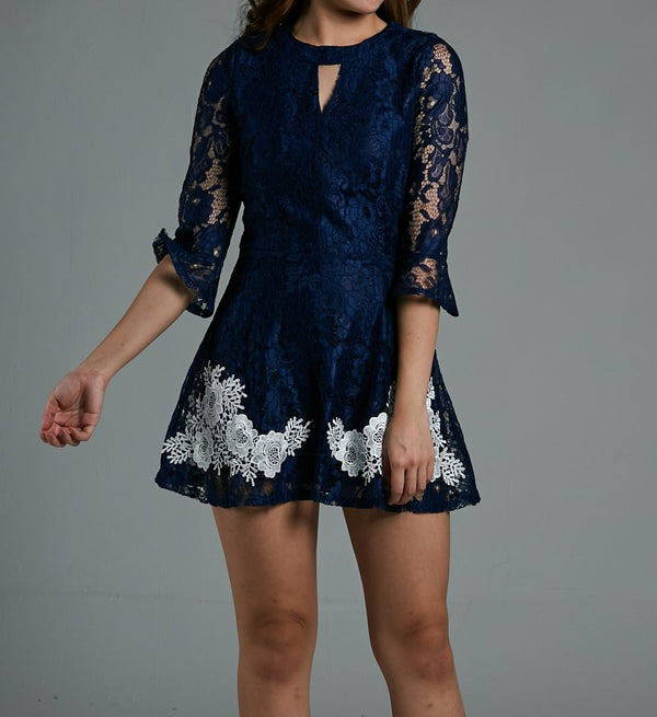 ¾ Sleeves Lace Dress 0587 - ample-couture