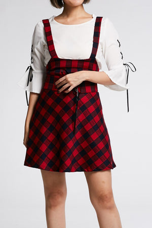 Mid Sleeves Top With Checker Dress Set 0675 Red / S Sets