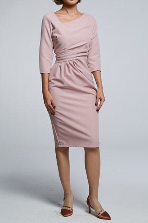 Midi Sleeves Fitted Dress 0590 Pink / S Dresses