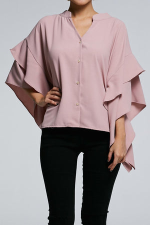 Long Sleeves Button Top 0616 Pink Tops