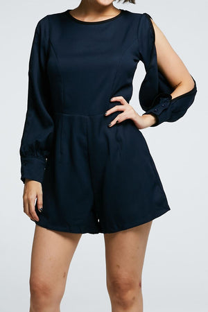 Open Sleeves Plain Playsuit 0683 - ample-couture