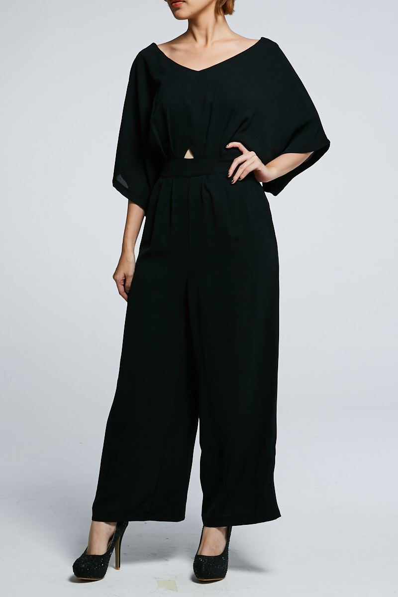 Short Sleeves Jumpsuit 0606 Black / M Jumpsuits